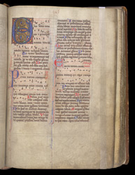 Illuminated Initial And Music At The Start Of The Hymnal, In The Coldingham Breviary